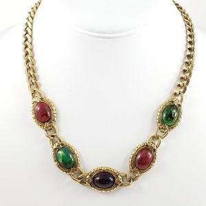 Vintage 1928 Necklace Smooth Marbled Stones